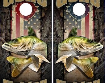 Wicked Wire American Walleye Fish Camo LAMINATED Cornhole Wrap Bag Toss Decal Baggo Skin Sticker Wraps