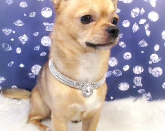 """Jewels4Pets dog necklace """"Angel"""" size S, 9.8-12 inch adjustable dog collar strass silver rhinestone bling dog jewelry gift for pet Chihuahua"""