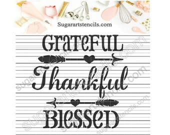 Grateful Thankful Blessed cookie stencil Fall Thanksgiving words ST00256