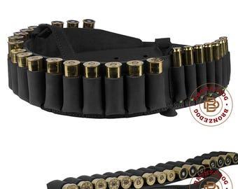 Leather Shotgun Shell Bandolier Cartridge Belt Hunting Rifle Bandoleer 12 Ga 7.62cal