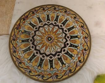 Mandala, handcrafted, vintage brass decorative plate is a true treasure. Cloisonne artwork is in excellent vintage condition, gold and blue
