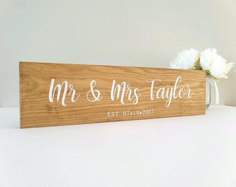 Mr & Mrs Personalised Sign - Wedding Gift - Rustic Wedding Sign - Mr and Mrs Gift - Bride and Groom Gift - Custom Wedding Sign