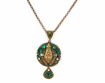 Frog necklace Frog jewelry Vintage brass pendant  Glass green stones