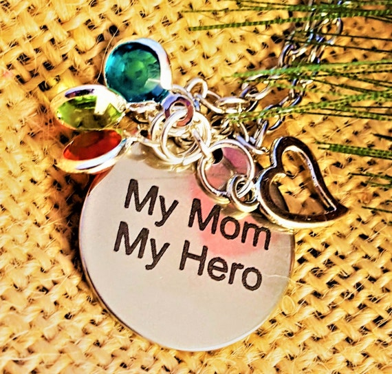 Customized Birthstone Jewelry for Mom, Personalized Gifts Mom, My Mom My Hero Necklace, Silver Heart Charms, To Mom from Kids, Grandma Gifts
