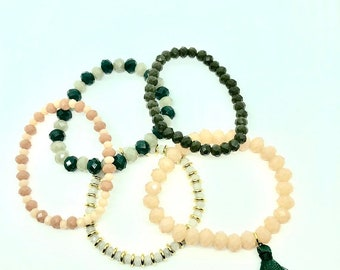 Women's bracelet set, Arm candy, Boho Bracelet, Women's layered bracelets, beaded bracelets, Seed bead bracelet, Stretch bracelet, Stackable