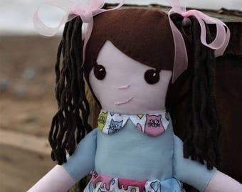 Rag Doll. Handmade Rag Doll. Cloth Doll. Fabric Doll. Doll. Dolly. Plushie. Cats. Cat Print.