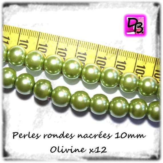 Set # 12 pearls round Pearly # # 10 mm Czech glass # color [Olivine] # glass pearl beads # # DollyDoo DIY jewelry creations