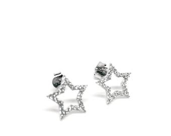 925 Sterling Silver Star Earrings with Crystals - Made in Italy. Gifts for Woman. Women's Jewellery. Woman Jewelry. Gift Box Included