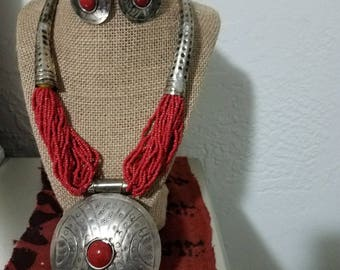 African Beaded Breastplate Necklace Set Red