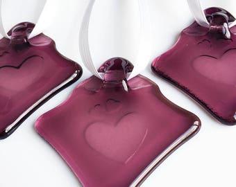 Fused Glass Mini Suncatcher, Hearts Design