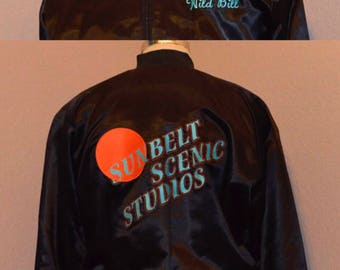 "Sunbelt Scenic Studios ""Wild Bill"" Sportswear Jacket Satin Rib Knit Collar Black XL X-Large"