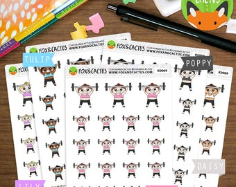 Weight Lifting Kawaii Girls - Fitness Leg Day Bicep Tricep Workout Exercise - Planner Stickers (K0069)
