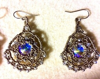 Filigree Silver and Crystal Beaded Earrings