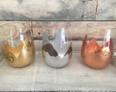 Magical Mountains Stemless wine glasses. In *Gold, *Copper or *Silver