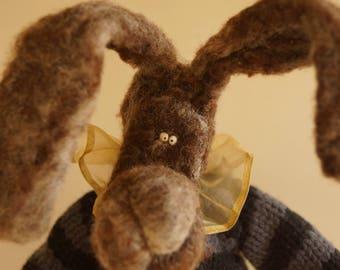 Bunny Rabbit, Needle Felted animal, easter gift, easter bunny, handmade doll, stuffed animal, art doll