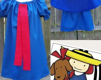 Madeline Dress, Madeline Costume, Madeline Dress up, Madeline Cape and Hat, Madeline Storybook