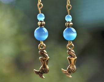 Mermaid Jewelry, Nymph jewelry, Gold Blue earrings, Cat eye Gold earrings, Blue Cat eye earrings, Mermaid earrings, Blue glass gold earrings