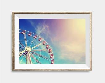 Ferris Wheel Print, Carnival Carrousel Poster, Fun Fair, Summer Printable, Pink Mint Large Wall Art,Oversized Print ,Housewarming Landscape