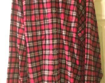 vintage 1940s wool red plaid men's shirt