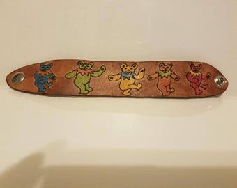 Grateful Dead Dancing Bears Leather Bracelet