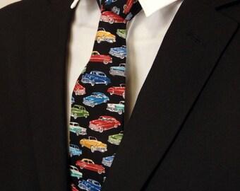"Boys Neckties – Child's Automotive Necktie Black with Multi Colored Cars. (2.5"" x 48"")"