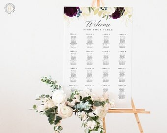 Wedding Seating Chart, Seating Chart Wedding, Wedding Table Plan, Seating Charts, Wedding Sign, Marsala Wedding, Floral Seating Chart, #PNG