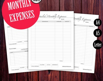 Monthly Expenses Tracker, Budget Planner, Finance Tracker, Daily Expenses, A4, A5, Letter Size, Filofax Planner Inserts, KIKIT K, PRINTABLE