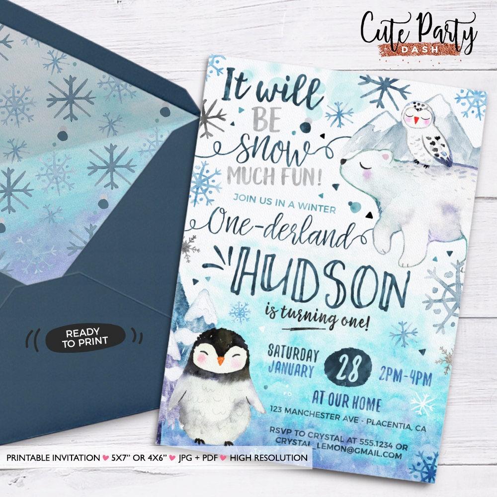 Winter ONEderland Birthday invitation Winter invitation Printable ...