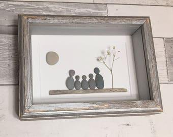 Pebble Art Family of Five ~ unique housewarming gift, 5th anniversary gift wood, retirement gift, birthday gift, original, custom family art