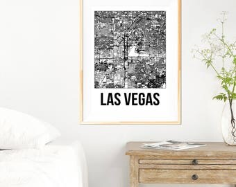 Las Vegas City Map Print - Black and White Minimalist City Map - Las Vegas Map - Las Vegas Print - Many Sizes/Colours Available