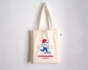Fabric bag-Skateboarding-100% organic cotton-shopping bag with long handles-red/blue-jute bag-Skate illustration