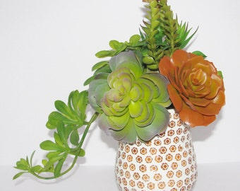 Faux Succulent Arrangement, Centerpiece, Floral Arrangement, Succulent Arrangement, Housewarming Gift, Unique Succulent Gift