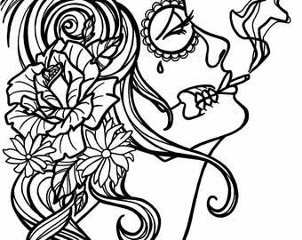 Sugar skull coloring | Etsy