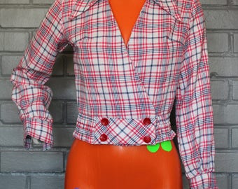 Vintage 1970's Plaid Cropped Jacket Top
