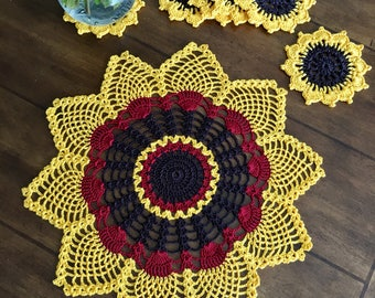 Rustic Sunflower Doily and Coasters - Pineapple Crochet Doily - Rustic Coffee Table Doily - Handmade Doilies - Wedding Gift - Table Decor