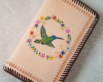 Hummingbird HandTooled Leather 2018 Monthly Planner/Binder, 6 Ring/2 Pocket Leather Interior, Two-Page Spread per Month, HandLaced