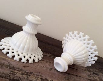 Vintage 1960s Westmoreland Milk Glass Lattice-Edge Candle Holders