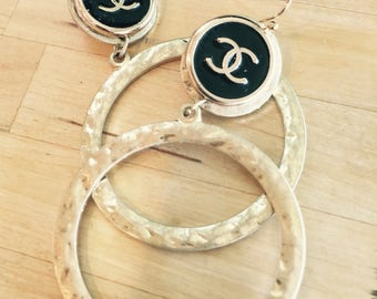 DESIGNER LOGO BUTTONS, repurposed to create dramatic Hoop Earrings, Inspired by Chanel C84-4