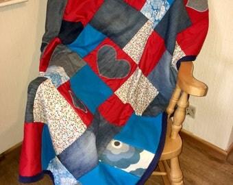Patchwork throw, Patchwork blanket, Boho throw, Boho blanket, Hippie throw, Hippie blanket, denim throw, appliqued throw, appliqued blanket