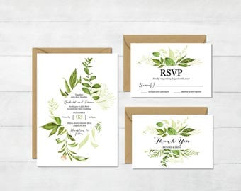 Greenery Printable Wedding Invitation Suite, Botanical Wedding Invite, Woodland Foliage Wedding Invite, Green Leaf Nature, Download 126-W