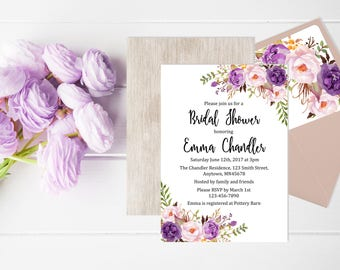 Purple Boho Floral Bridal Shower Invitation, Printable Floral Boho Bridal Shower Invite Envelope Liner, Reverse Side Invite Download 121-W