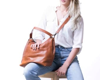 Crossbody Leather Hobo Bag, Crossbody Hobo, Cognac Hobo Bag