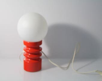 Sytylish table lamp, ceramic base by Steuler, red, white glass lamp shade. Mid century - 560/15 Zalloni