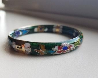 Cloisonné Bracelet Bangle, Hinged