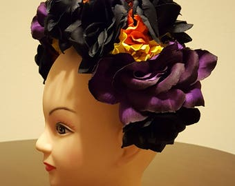 dia de los muertos, day of the dead headpiece, flower headband, zombie costume, samba, mexican headpiece, flower crown
