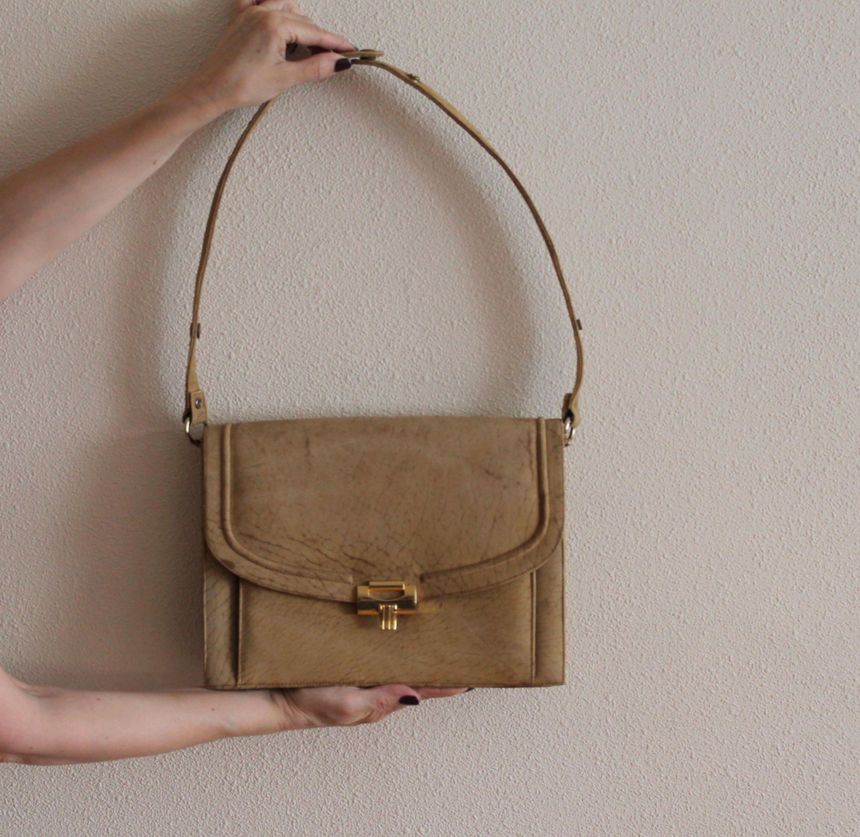 543f26b56410 VINTAGE Leather Shoulder Bag Women Cross Body Purse Caramel Brown Bag  Genuine Leather Shoulder Bag Soft