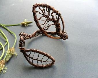 Tree of Life copper bracelet, handmade, Wire wrapped bracelet, Wrap bracelet cuff, Woodland jewelry, Tree bracelet, Tree of life jewelry