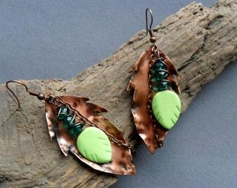 Copper Leaf Earrings copper leaves earrings copper earrings leaf earrings copper forged earrings fold form earrings flame patina earrings