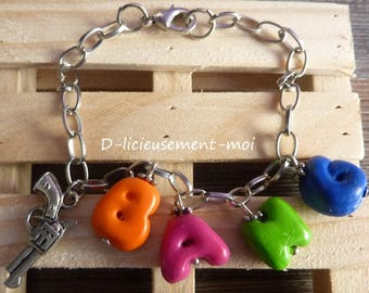 Chain bracelet in silver letters bang Fimo polymer clay charms and revolver gun charm
