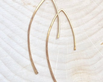Gold Hammered Half Hoop Earrings #653